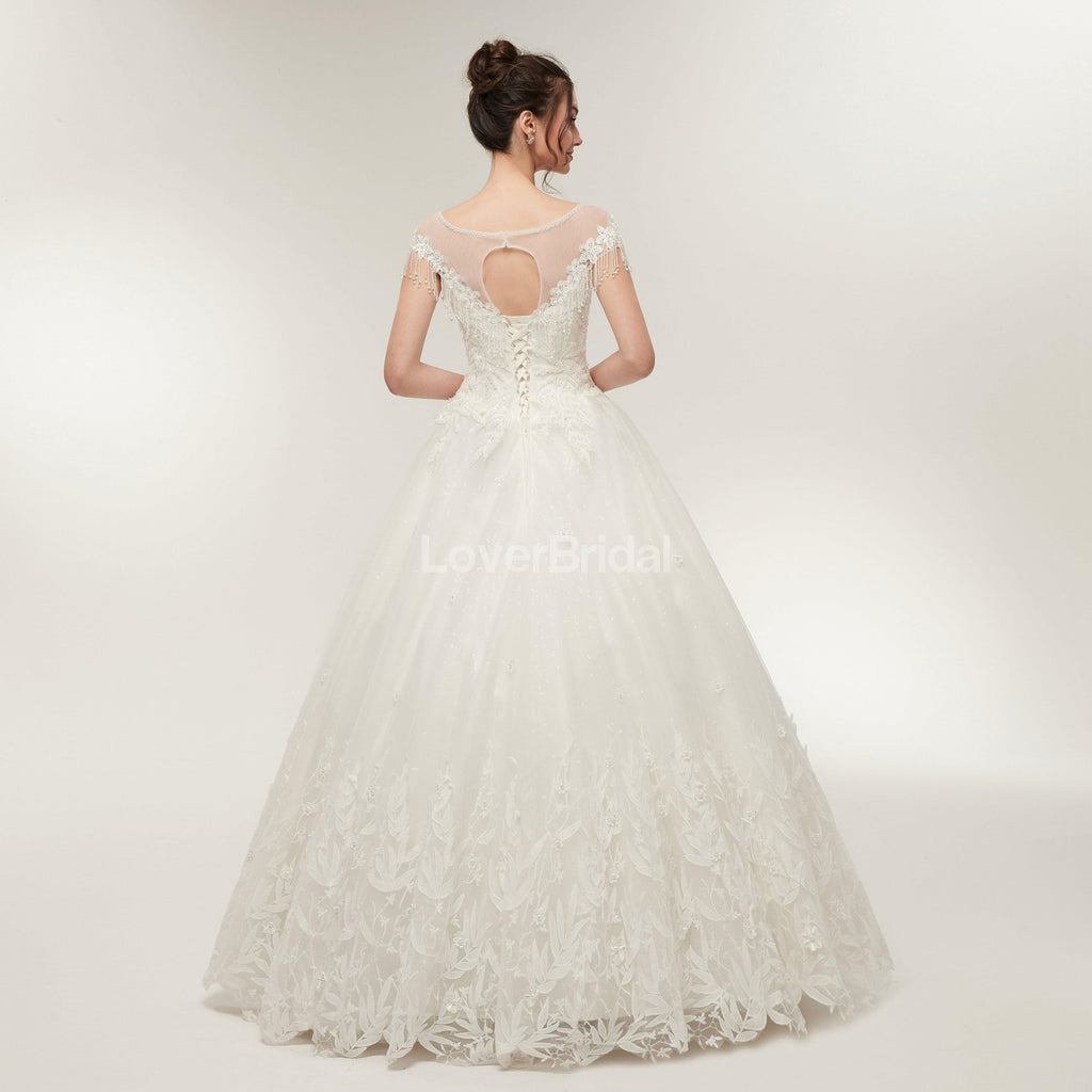 Scoop Cap Sleeves Lace A-line Cheap Wedding Dresses Online, Unique Bridal Dresses, WD570