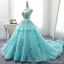 Scoop Cap Sleeves Tiffany Blue Lace Long Evening Prom Dresses, Cheap Custom Sweet 16 Dresses, 18522