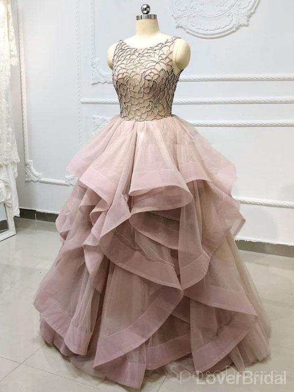 Scoop Grey Champagne Ball Gown Long Evening Prom Dresses, Party Custom Prom Dresses, 18634
