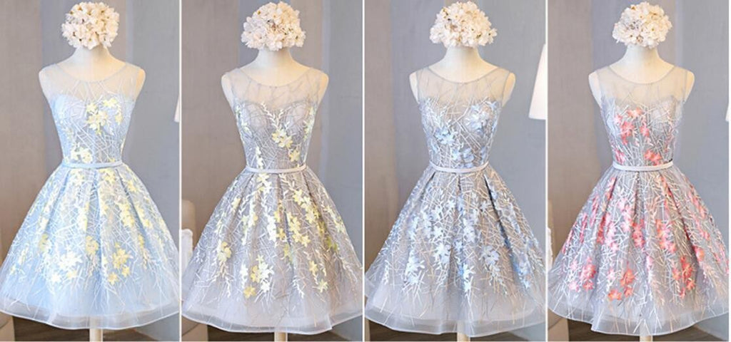 Scoop Neckline Grey and Yellow Lace Homecoming Prom Dresses, Affordable Short Party Prom Dresses, Perfect Homecoming Dresses, CM280