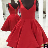 Scoop red simple v-neck freshman A-line cheap homecoming prom gown dress,BD00141
