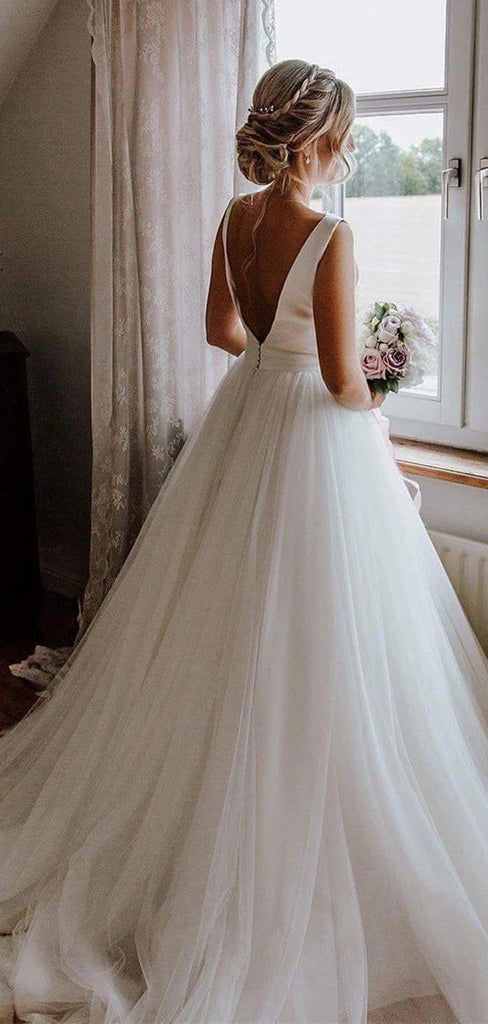 Scoop Satin A-line Cheap Wedding Dresses, Cheap Wedding Gown, WD693