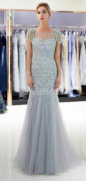 Scoop See Through Grey Rhinestone Beaded Mermaid Evening Prom Dresses, Evening Party Prom Dresses, 12041