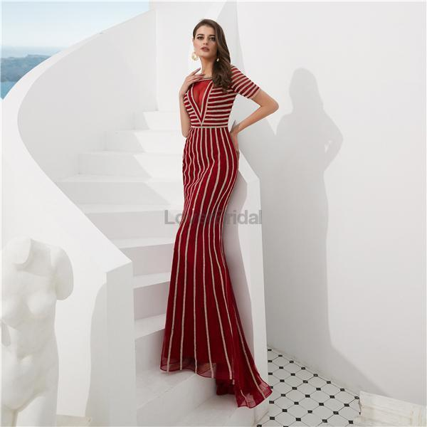 Scoop Short Sleeves Beaded Red Evening Prom Dresses, Evening Party Prom Dresses, 12081