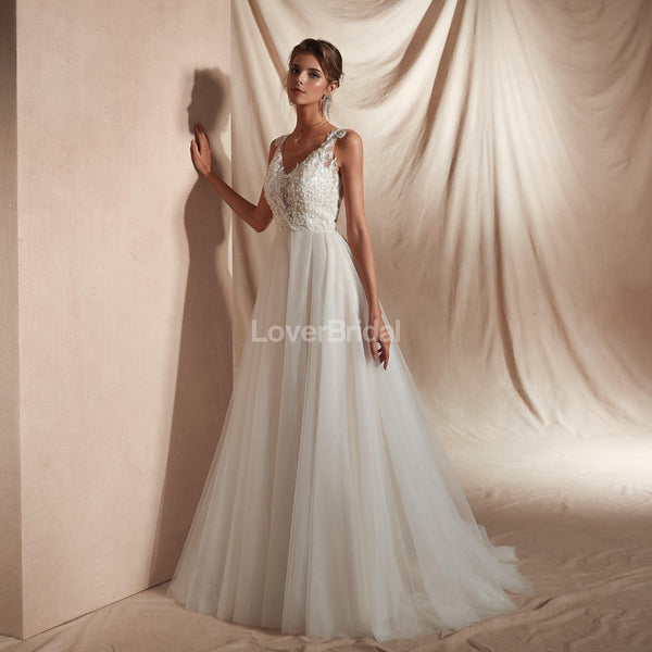 See Through Cap-Sleeves A-line Cheap Wedding Dresses Online, Cheap Bridal Dresses, WD579