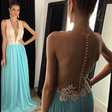 See Through Deep V Neck Sexy Blue Cheap Long Prom Dresses, WG298