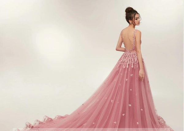 See Through Dusty Pink Lace A-line Long Evening Prom Dresses, Cheap Sweet 16 Dresses, 18354