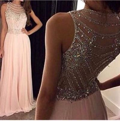 See Through Evening Party Prom Dresses,  Blush pink prom Dress, Beaded Prom Dress, Sexy Evening Prom Dresses, 17007
