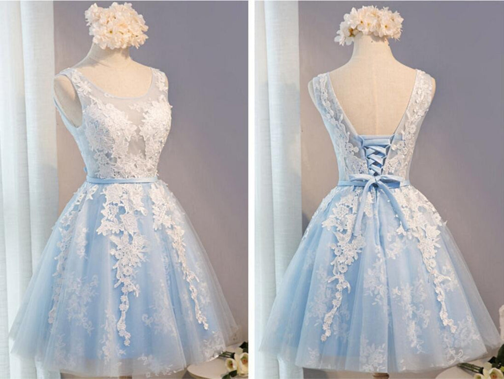 See Through Light Blue Skirt Ivory Lace Homecoming Prom Dresses, Affordable Short Party Prom Dresses, Perfect Homecoming Dresses, CM278