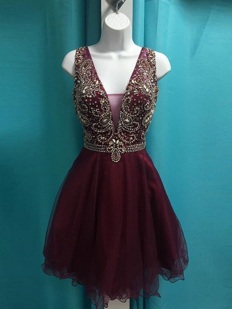 See Through V Neck Cute Beaded Maroon Homecoming Dresses 2018, CM499