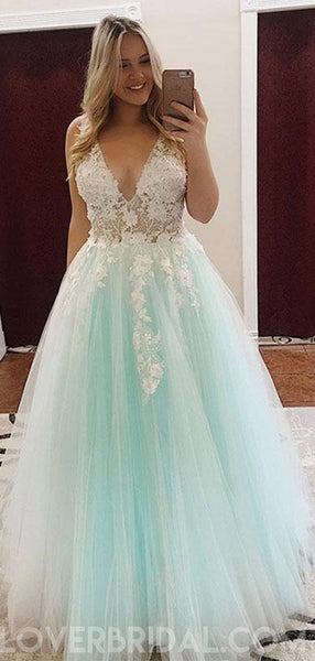 See Through V Neck Mint Lace Applique Long Evening Prom Dresses, Cheap Sweet 16 Dresses, 18424