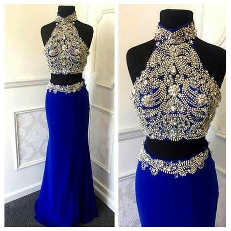 Sexy 2 Pieces Mermaid Beaded Royal Blue High Neck Long Evening Party Prom Dresses, WG564