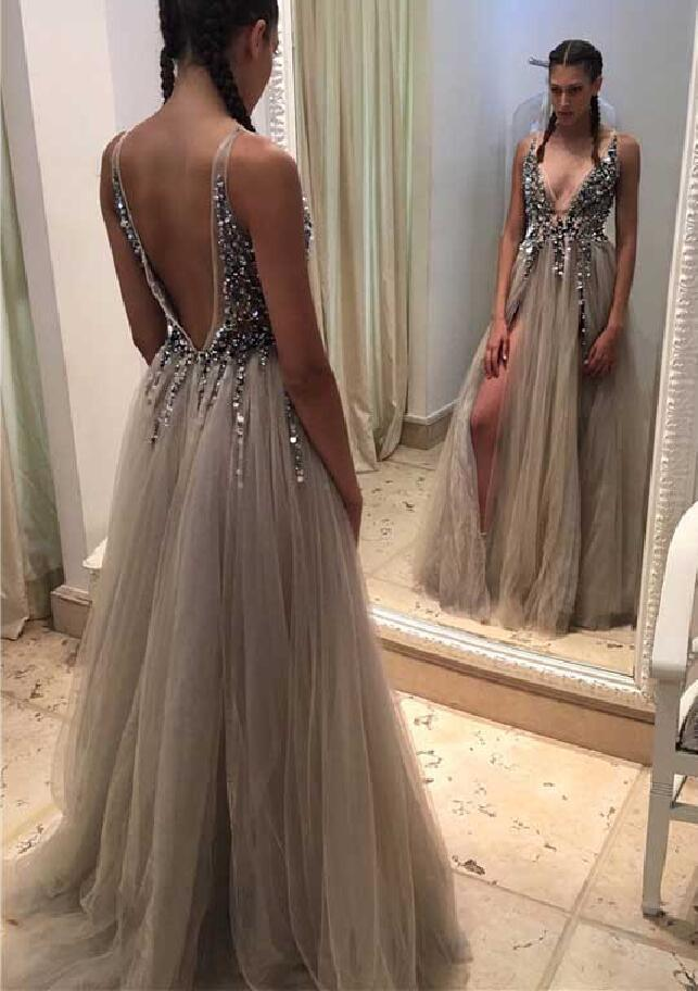 Sexy Backless Beaded Evening Prom Dresses, Long Grey Tulle Party Prom Dress, 2017 Long Prom Dress, Cheap Party Prom Dress, Formal Prom Dress, 17022