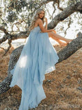 Sexy Backless Blue Chiffon Cheap Long Evening Prom Dresses, Evening Party Prom Dresses, 18635