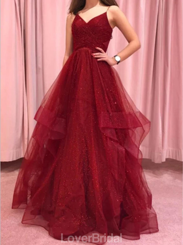 Sexy Backless Dark Red A-line Ruffle Evening Prom Dresses, Evening Party Prom Dresses, 12194