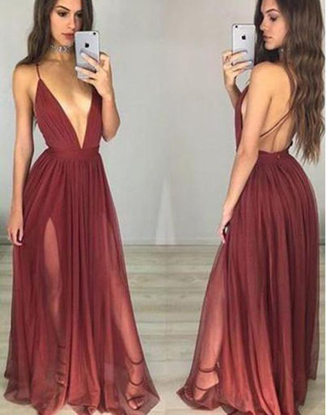 Sexy Backless Deep V Neckline Side Slit Chiffon Long Evening Prom Dresses, Popular Cheap Long Custom Party Prom Dresses, 17326