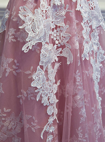 Sexy Backless Dusty Pink Lace Homecoming Prom Dresses, Affordable Corset Back Short Party Prom Dresses, Perfect Homecoming Dresses, CM257