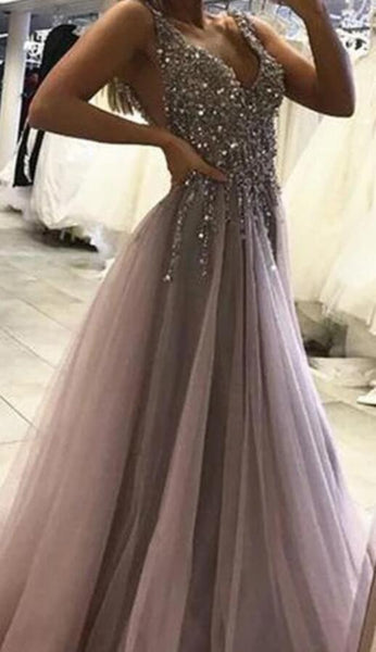 Sexy Backless Grey V Neck Beaded Long Custom Evening Prom Dresses, 17437
