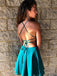 Sexy Backless Halter Lace Beaded Teal Chiffon Cheap Homecoming Dresses Online, CM722