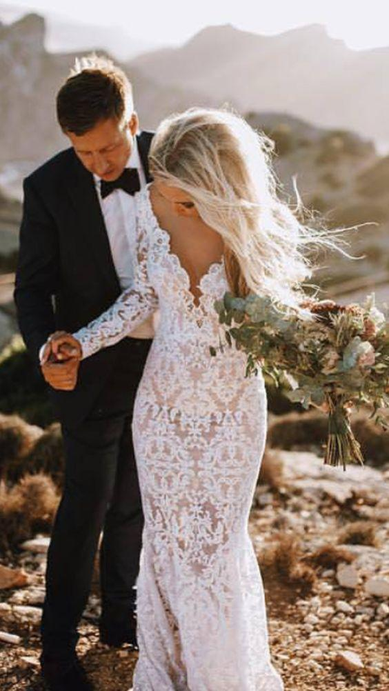 Sexy Backless Lace Mermaid Cheap Wedding Dresses Online Long Sleeves Loverbridal