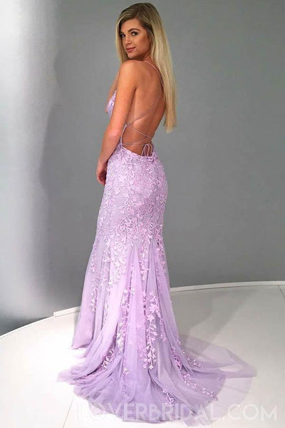 Sexy Backless Lace Mermaid Lilac Long Evening Prom Dresses, Cheap Custom Sweet 16 Dresses, 18466