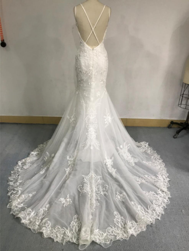 Sexy Backless Lace Mermaid Wedding Dresses, Cheap Wedding Gown, WD679