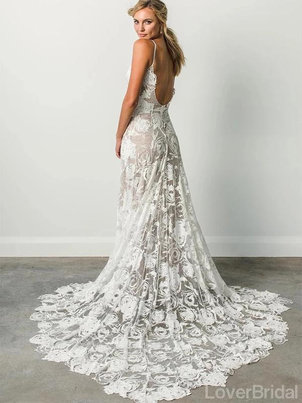 Sexy Backless Lace Mermaid Wedding Dresses Online, Cheap Unique Bridal Dresses, WD589