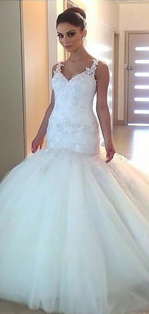 Sexy Backless Lace Straps Mermaid Wedding Dresses Online, Cheap Lace Bridal Dresses, WD450