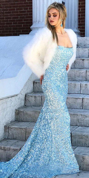 Sexy Backless Light Blue Mermaid Long Evening Prom Dresses, Evening Party Prom Dresses, 12167