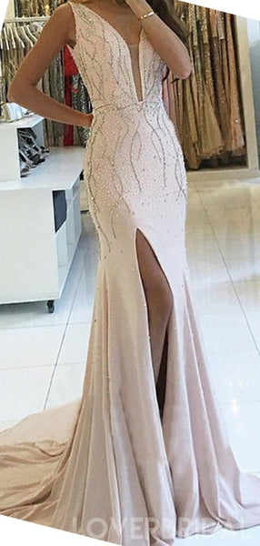 Sexy Backless Mermaid Beaded Evening Prom Dresses, Cheap Custom Sweet 16 Dresses, 18537