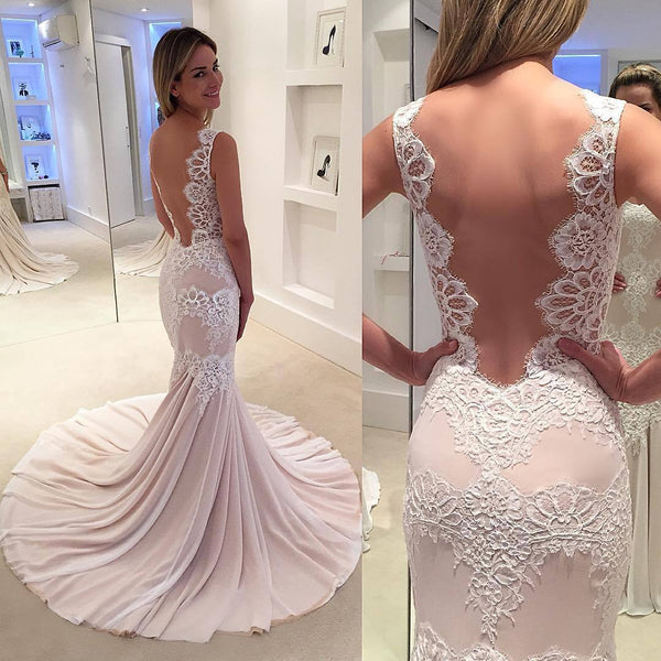 Sexy Backless Mermaid Lace Straps Long Evening Prom Dresses, 17509