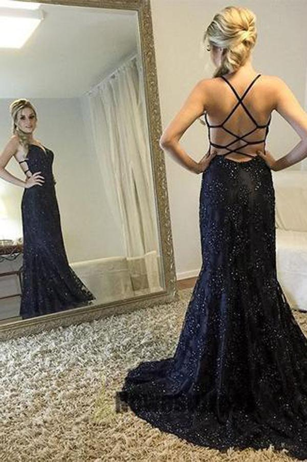Sexy Backless Navy Lace Mermaid Long Evening Prom Dresses, 17698