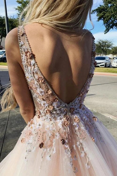 Sexy Backless Pink Lace Beaded Evening Prom Dresses, Evening Party Prom Dresses, 12289