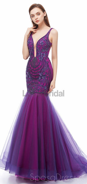 Sexy Backless Purple V Neck Mermaid Evening Prom Dresses, Evening Party Prom Dresses, 12107