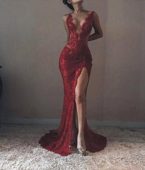 Sexy Backless Red Lace Side Slit Deep V Neckline Mermaid Long Evening Prom Dresses, 17531