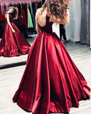 Sexy Backless Satin Bateau A line Long Custom Evening Prom Dresses, 17432