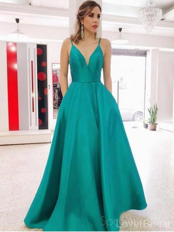 Sexy Backless Simple Green Cheap Long Evening Prom Dresses, Evening Party Prom Dresses, 18639