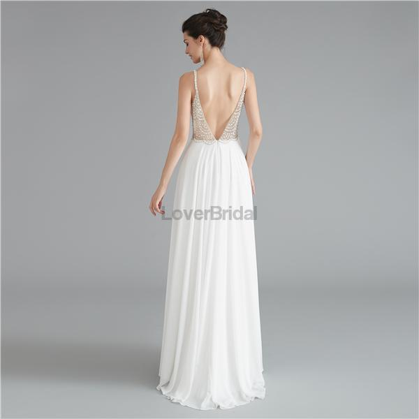 Sexy Backless Spaghetti Straps Beaded See Through Long Evening Prom Dresses, Evening Party Prom Dresses, 12121