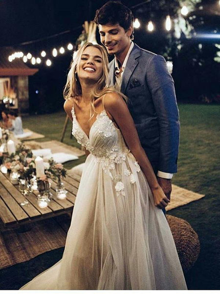 Sexy Backless Spaghetti Straps Cheap Wedding Dresses Online, Lace A-line Bridal Dresses, WD442