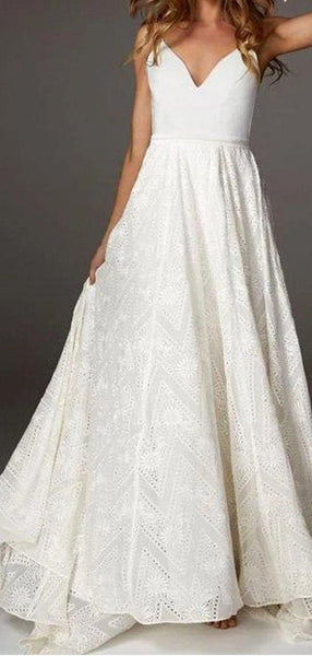 Sexy Backless Spaghetti Straps Lace Wedding Dresses Online, Cheap Bridal Dresses, WD643