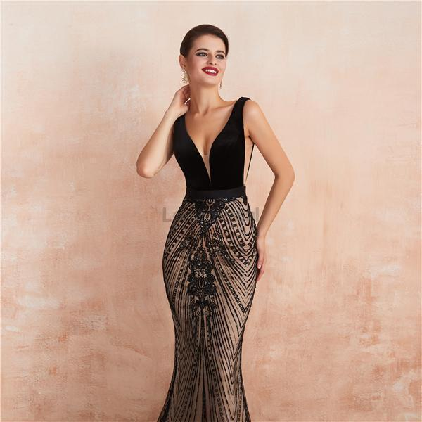 Sexy Backless V Neck Black Evening Prom Dresses, Evening Party Prom Dresses, 12132