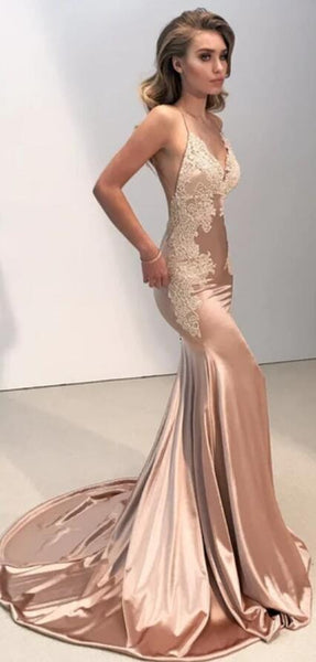 Sexy Backless V Neck Lace Mermaid Long Evening Prom Dresses, 17520