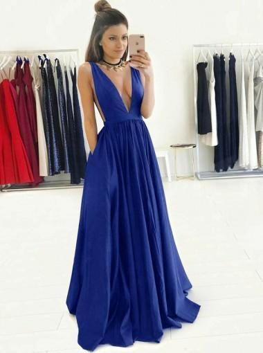 Sexy Backless V Neck Roay Blue A-line Long Evening Prom Dresses, 17581