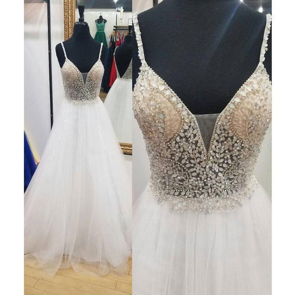 Sexy Backless V Neck White Beaded A-line Long Evening Prom Dresses, 17573