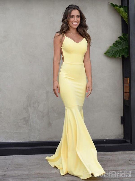 Sexy Backless Yellow Mermaid Long Evening Prom Dresses, Cheap Party Custom  Prom Dresses, 18618