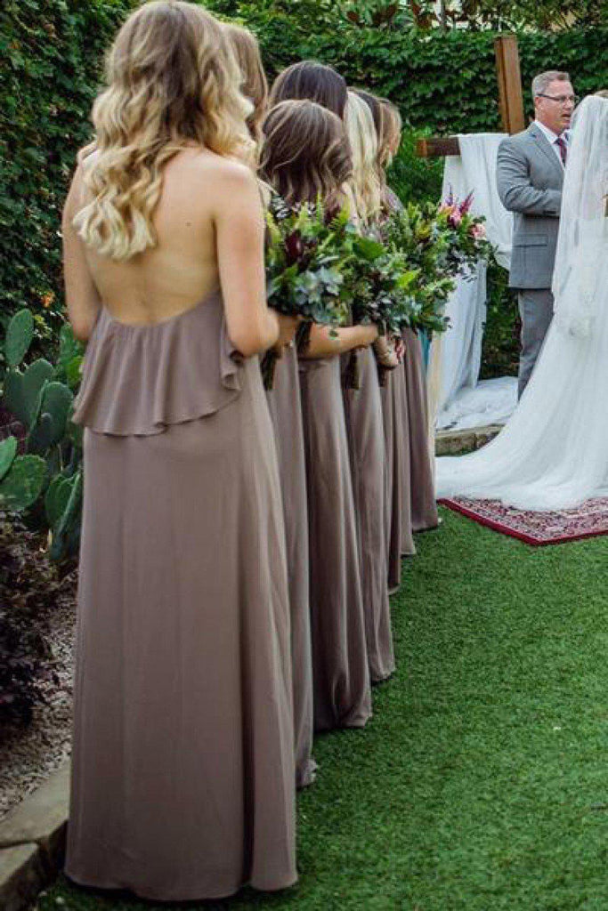 Sexy Halter Backless Grey Chiffon Cheap Bridesmaid Dresses Online, WG770