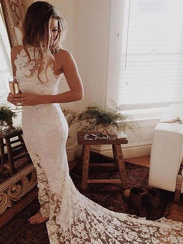 Sexy Halter Lace Mermaid Cheap Wedding Dresses Online, WD415