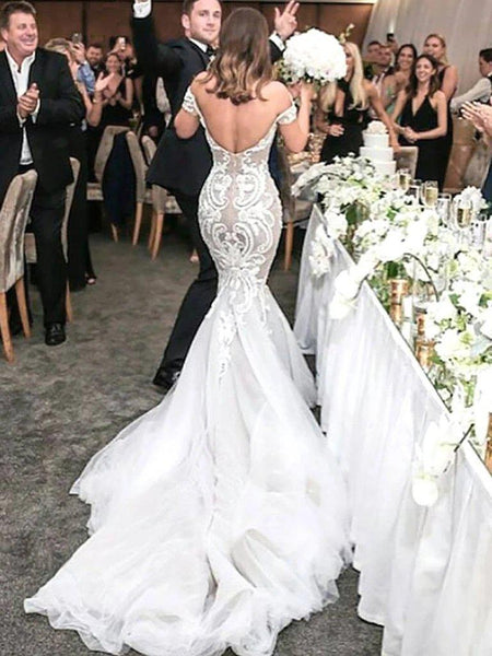 Sexy Lace Mermaid Wedding Dresses Online, Cheap Wedding Gown, WD670