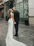 Sexy Lace Open Back Mermaid Wedding Dresses Online, Cheap Bridal Dresses, WD537