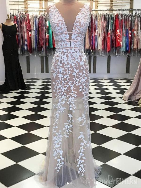 Sexy Mermaid Champagne Lace Cheap Long Evening Prom Dresses, Evening Party Prom Dresses, 18629
